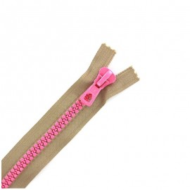 Synthetic moulded two-tone open-end zip - beige / pink