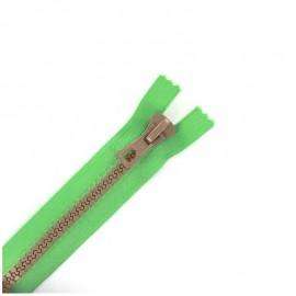 Synthetic moulded two-tone open-end zip - green / beige