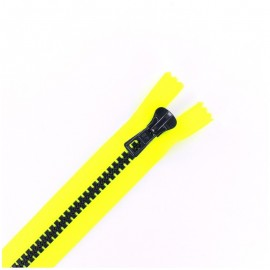 Synthetic moulded two-tone open-end zip - fluo yellow / night blue