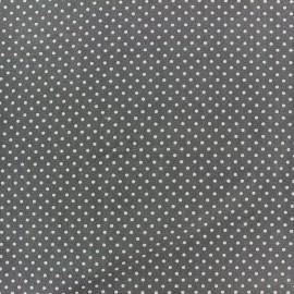 ♥ Coupon tissu 130 cm X 150 cm ♥ coton pois 2mm - brume/anthracite