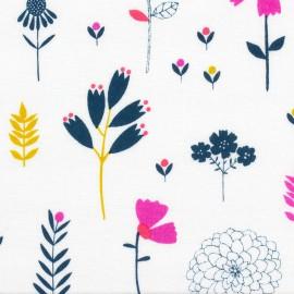 Tissu coton Cotton Candy Fleurs - blanc x 10cm