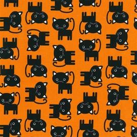 Cotton fabric Urban Zoologie Halloween Cat - black x 10cm