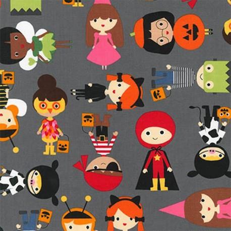 Tissu coton Pumpkin Fun Halloween - charcoal x 10cm