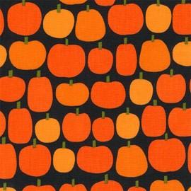 Tissu coton Pumpkin Fun Halloween Citrouille - black x 10cm