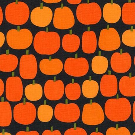Cotton Fabric Pumpkin Fun Halloween Citrouille Black X 10cm Ma Petite Mercerie