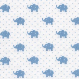 Tissu double gaze de coton Little Prints  Elephant - blue x 10 cm