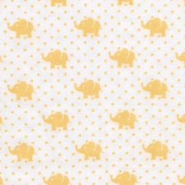Tissu double gaze de coton Little Prints  Elephant - yellow x 10 cm