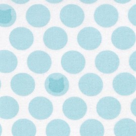 Tissu double gaze de coton Little Prints Cats and dots - sky x 10 cm