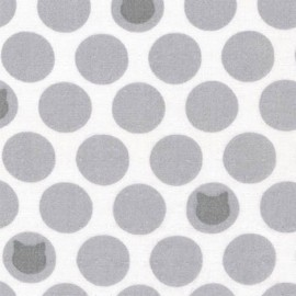 Tissu double gaze de coton Little Prints Cats and dots - grey x 10 cm