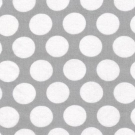 Tissu double gaze de coton Little Prints Dots - grey x 10 cm