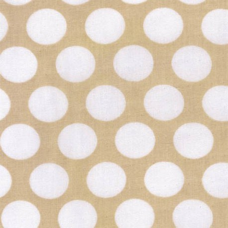Tissu double gaze de coton Little Prints Dots - natural x 10 cm