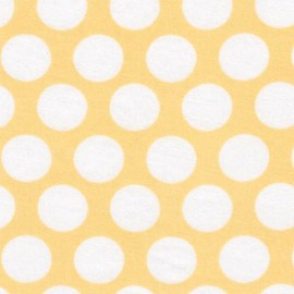 Tissu double gaze de coton Little Prints Dots - yellow x 10 cm