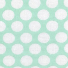 Tissu double gaze de coton Little Prints Dots - mint x 10 cm