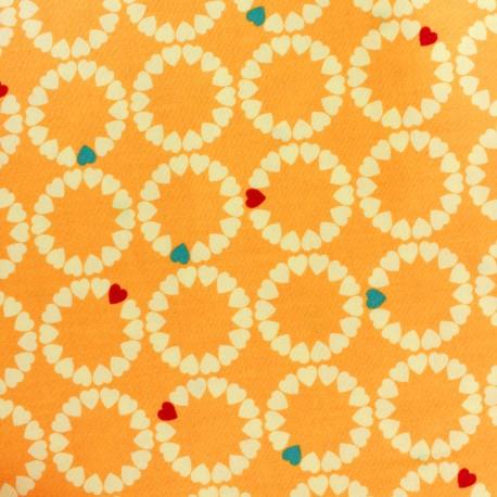 Makower UK cotton fabric Radiance heart circles - sunshine x 10 cm