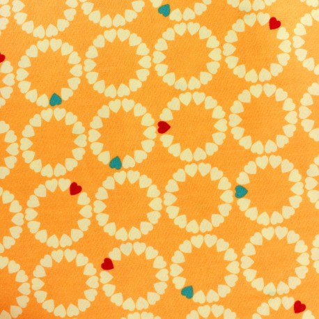 Makower UK cotton fabric Radiance heart circles - sunshine x 10 cm