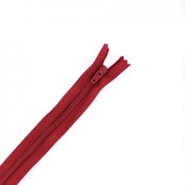 Fermeture à glissière non séparable fine nylon -  rouge cerise