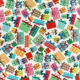 Tissu coton Makower UK Frosty presents - multi x 10 cm
