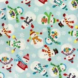 Tissu coton Makower UK Frosty snowmen light - blue x 10 cm