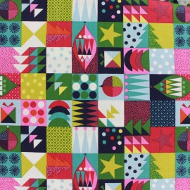 Tissu coton Makower UK Wrap it up abstract squares - multi x 10 cm