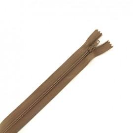 Fermeture à glissière non séparable fine nylon - taupe