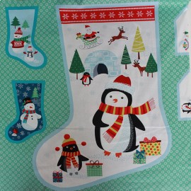 Tissu coton Makower UK Frosty large stocking panel - multi x 60 cm
