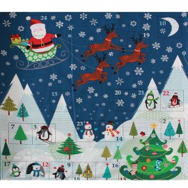 Tissu coton Makower UK Frosty scenic panel - multi x 60 cm