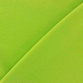 Tissu Jersey uni 100% coton - vert anis x 10cm