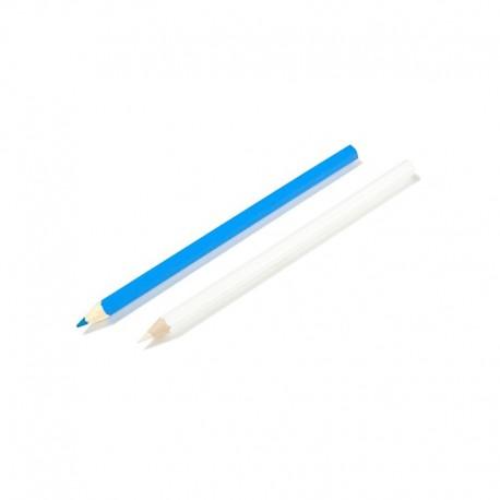 Crayon Craie pour tissu bleu et blanc - lot de 2