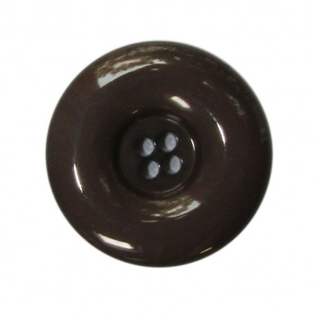 Polyester button, lacquered - brown