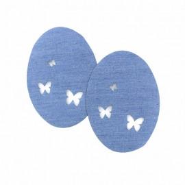 Coudières denim ajouré - papillon  (la paire)