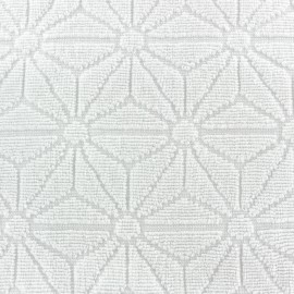 Tissu éponge jacquard Bento - blanc x 10cm