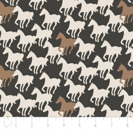 Camelot Fabrics Equestrian Horse Silhouettes - carbon x 20cm
