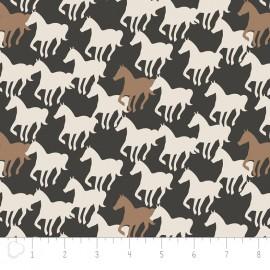 Tissu Camelot Fabrics Equestrian Horse Silhouettes - carbon x 20cm