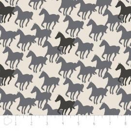 Tissu Camelot Fabrics Equestrian Horse Silhouettes - naturel x 20cm