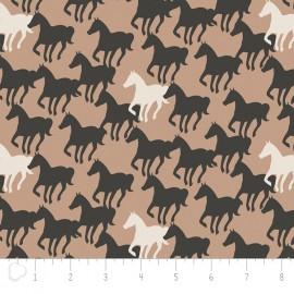 Tissu Camelot Fabrics Equestrian Horse Silhouettes - brown sugar x 20cm