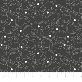 Tissu Camelot Fabrics Bonne nuit Bear Constellation - carbon x 10cm