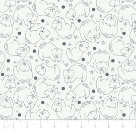 Tissu Camelot Fabrics Bonne nuit Bear Constellation - blanc x 10cm