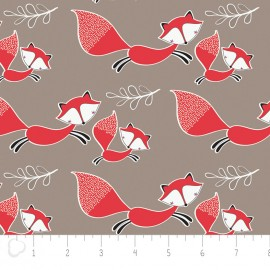 Tissu Camelot Fabrics Mama & me foxes - taupe x 10cm