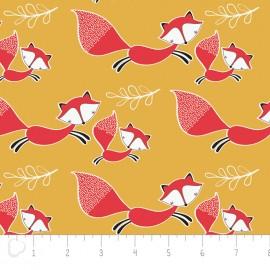 Tissu Camelot Fabrics Mama & me foxes - mustard x 10cm