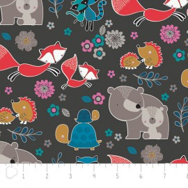 Tissu Camelot Fabrics Mama & me Woodland characters - carbon x 15cm