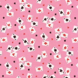 Fabric Timeless Treasures Alice Playing Cards - pink x 10cm