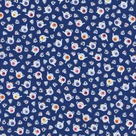 Fabric Timeless Treasures  Alice Teapots - royal blue x 10cm