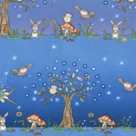 Tissu Timeless Treasures Kids Woodland Fairy Stripe - blue x 61cm