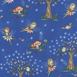 Tissu Timeless Treasures Kids Woodland Fairies - royal blue x 30cm