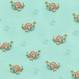 Tissu Timeless Treasures Kids Mushrooms - mint x 10cm