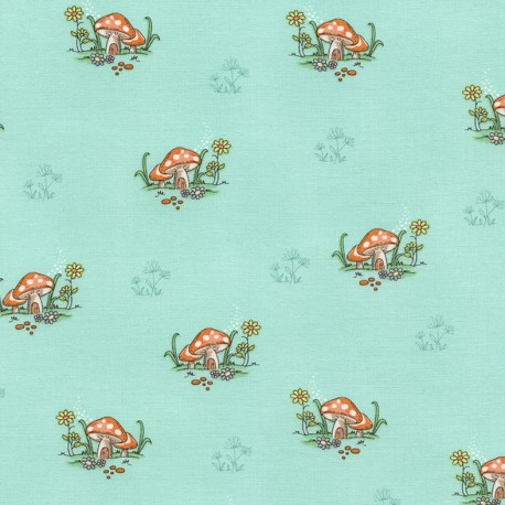 Fabric Timeless Treasures Kids Mushrooms - mint x 10cm