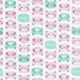 Tissu Timeless Treasures Fun Cats - pink x 10cm