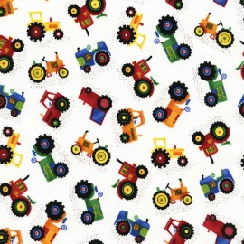 Tissu Timeless Treasures Gail Mini Tractors - white x 10cm
