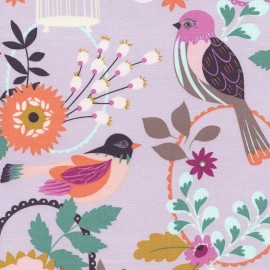 Tissu Timeless Treasures Felicity Birds - lavender x 30cm