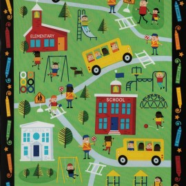 Tissu Timeless Treasures School panel - green x 59cm
